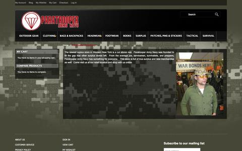 Screenshot of About Page paratrooperarmynavy.com - Paratrooper Army Navy - captured Dec. 7, 2015