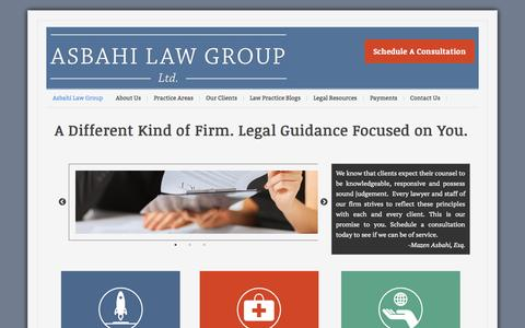 Screenshot of Home Page asbahilaw.com - Business, Healthcare and Nonprofit Law | Asbahi Law - captured Sept. 11, 2015