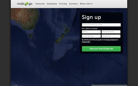 Screenshot of Signup Page mobi2go.com - Signup – Mobi2Go Mobile & Web Ordering - captured Oct. 26, 2014