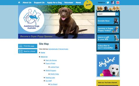 Screenshot of Site Map Page assistancedogs.org.au - Site Map ·  Assistance Dogs Australia - captured Oct. 4, 2014