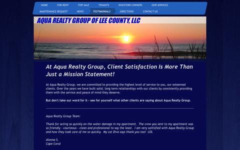 Screenshot of Testimonials Page aquarealtygroup.com - Aqua Realty Group LLC - Testimonials - captured Dec. 26, 2015