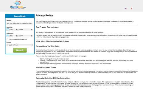 Screenshot of Privacy Page malaysiaguide.com - MalaysiaGuide.com - Find Hotels Deals Privacy Statement - captured Sept. 22, 2018