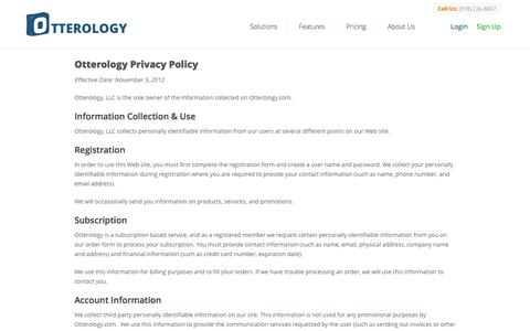Screenshot of Privacy Page otterology.com - Privacy Policy :: Otterology Inventory Management - captured Sept. 17, 2014