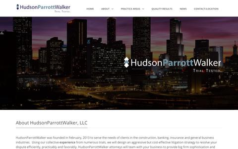 Screenshot of About Page hpwlegal.com - About HudsonParrottWalker, LLC | Construction Law | Commercial Litigation | General Liability | Banking Law |  Employment Law | Atlanta Law Firm - captured Feb. 26, 2018