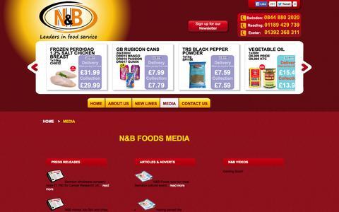 Screenshot of Press Page nbfoods.co.uk - Media | N&B Foods Ltd - captured Oct. 3, 2014