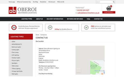 Screenshot of Contact Page oberoi-brothers.co.uk - Contact Us - captured May 21, 2019