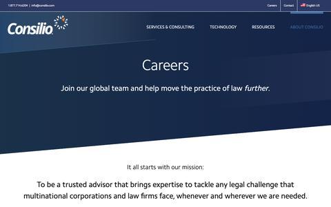 Screenshot of Jobs Page consilio.com - Careers - Consilio.com - captured Oct. 19, 2018