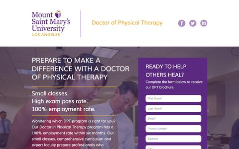 Screenshot of Landing Page msmu.edu - Doctor of Physical Therapy – Los Angeles DPT Program | MSMU - captured Oct. 30, 2016