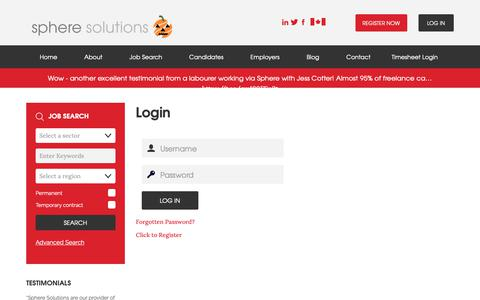 Screenshot of Login Page spheresolutions.co.uk - Login - Sphere Solutions - Construction Recruitment - Job Search - captured Oct. 19, 2018