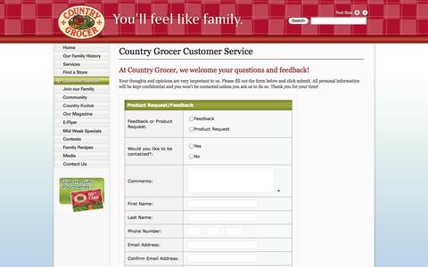 Screenshot of Support Page countrygrocer.com - Your Country Grocer Vancouver Island Grocery Store > Customer Service - captured Sept. 30, 2014