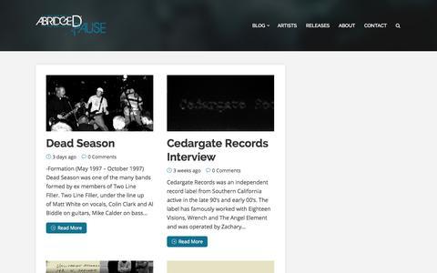Screenshot of Blog abridgedpause.com - Abridged Pause Blog - captured Oct. 4, 2014