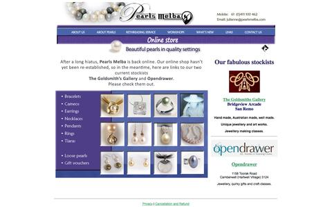 Screenshot of Home Page pearlsmelba.com - Pearls Melba - Beautiful pearls in quality settings - captured Sept. 29, 2014