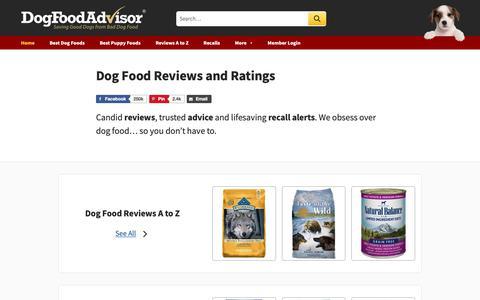 Screenshot of Home Page dogfoodadvisor.com - Dog Food Reviews and Ratings | Dog Food Advisor - captured March 27, 2019