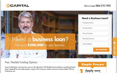 Screenshot of Landing Page ecapital.com - Business Loans - eCapital - captured April 19, 2016