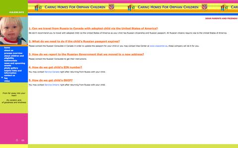 Screenshot of FAQ Page chocadoption.com - Caring Homes For Orphan Children ADOPTION - captured Oct. 1, 2014