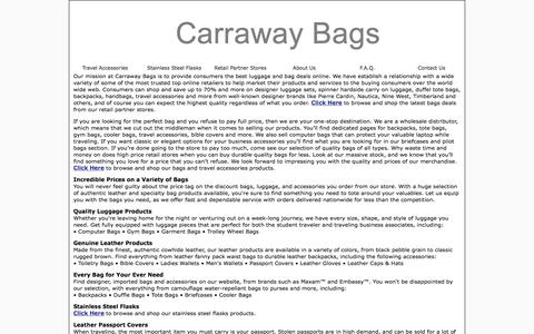 Screenshot of About Page carrawaybags.com - Quality Bags And Luggage At Everyday Low Discount Prices - captured July 8, 2018