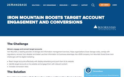 Screenshot of Case Studies Page demandbase.com - Iron Mountain Boosts Target Account Engagement - captured Nov. 6, 2019