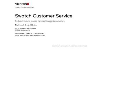 Screenshot of Support Page swatch.com - Swatch Customer Service - USA Store Locator - captured May 19, 2018