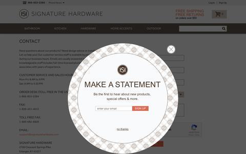 Screenshot of Contact Page signaturehardware.com - Contact Us - captured Jan. 29, 2017