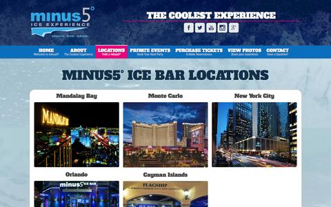 Screenshot of Locations Page minus5experience.com - minus5° Locations – minus5 Ice Bar - captured Jan. 29, 2016
