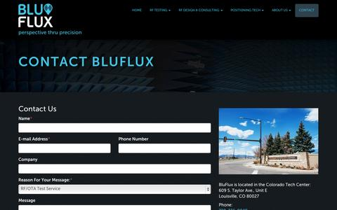 Screenshot of Contact Page bluflux.com - Contact Blu Flux in Louisville, Colorado | RF Testing, RF Design & Consulting | BluFlux - captured Oct. 5, 2014