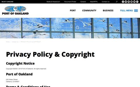 Screenshot of Privacy Page portofoakland.com - Privacy Policy & Copyright | Port of Oakland - captured July 14, 2016
