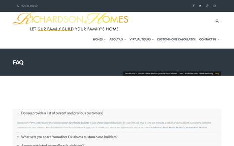 Screenshot of FAQ Page richardsonhomesok.com - FAQ - Oklahoma's Custom Home Builder   Richardson Homes   OKC, Shawnee, Enid Home Building - captured Oct. 22, 2017