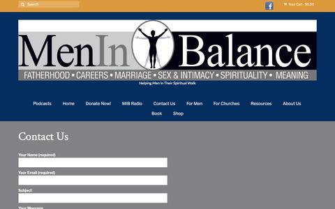 Screenshot of Contact Page meninbalance.org - Contact Us – Men in Balance - captured Sept. 20, 2018