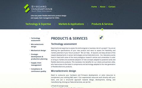 Screenshot of Products Page syscard.com - Syscard Innovations Inc. - Products & Services - captured Oct. 9, 2014