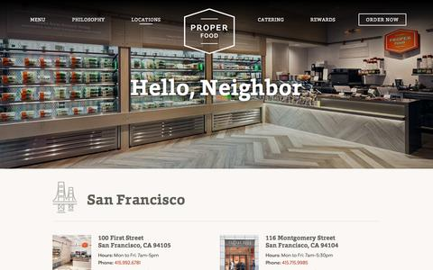 Screenshot of Locations Page properfood.com - Locations - Proper Food - captured July 24, 2018