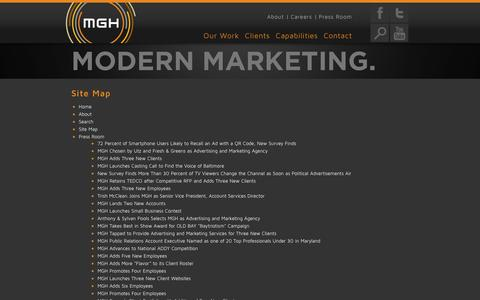 Screenshot of Site Map Page mghus.com - Sitemap | MGH | Baltimore, MD - Washington, DC - captured Sept. 25, 2014