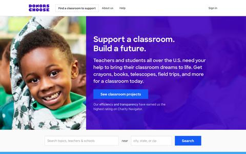Screenshot of Home Page donorschoose.org - DonorsChoose: Support a classroom. Build a future. - captured Jan. 9, 2020