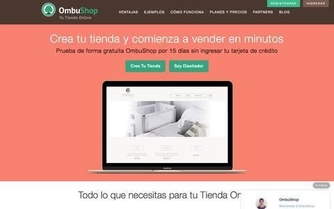 Screenshot of Home Page ombushop.com - Crea Tu Tienda Online y en Facebook con OmbuShop - captured Dec. 4, 2015