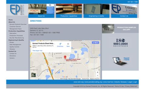Screenshot of Maps & Directions Page earnestproducts.com - My Website > Contact Us > Directions - captured July 10, 2016