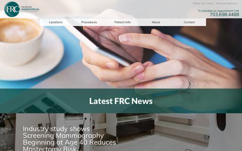 Screenshot of Press Page fairfaxradiology.com - Latest FRC News | Fairfax Radiological Consultants - captured Oct. 13, 2017