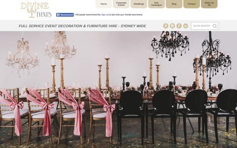 Screenshot of Home Page divineevents.com.au - Full Service Event Decoration & Furniture Hire - Divine Events - captured Aug. 7, 2018