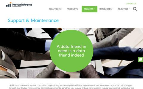 Screenshot of Support Page humaninference.com - Support & Maintenance | Human Inference - captured July 19, 2016