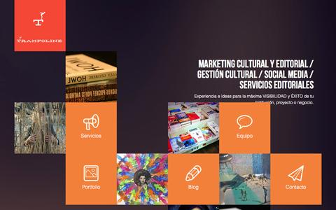 Screenshot of Home Page trampolinemce.com - Trampolinemce. eMarketing cultural y editorial - captured Oct. 7, 2014