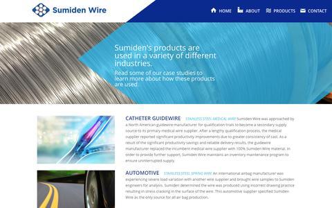 Screenshot of Case Studies Page sumidenwire.com - Case Studies | Sumiden Wire - captured Feb. 25, 2016