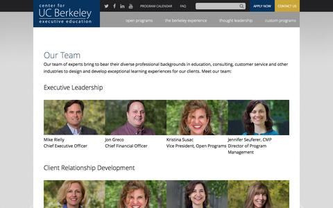 Screenshot of Team Page berkeley.edu - Our Team | executive.berkeley.edu - captured Oct. 15, 2016