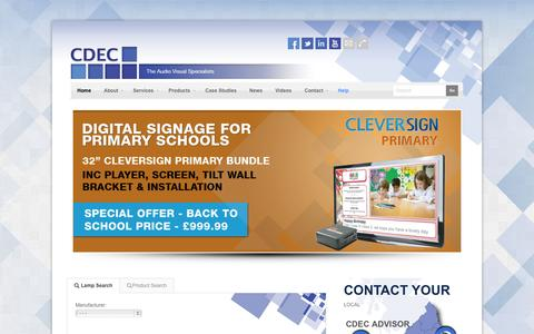 Screenshot of Home Page Products Page Services Page cdec.co.uk - CDEC - The Audio Visual Solutions Specialists - captured Oct. 1, 2014