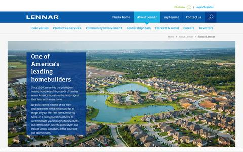Screenshot of About Page lennar.com - Lennar Corporation - About Lennar - captured March 8, 2017