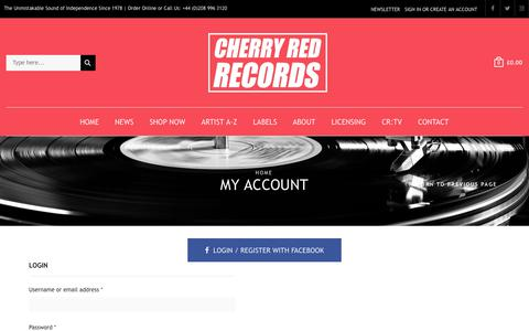 Screenshot of Login Page cherryred.co.uk - Cherry Red Records | My Account - captured July 28, 2017