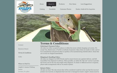 Screenshot of Terms Page anglers-ammo.com - Angler's Ammo Bucktail Jigs - Terms & Conditions - captured Dec. 25, 2015