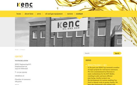 Screenshot of Contact Page kenc.nl - Contact | KENC - captured Nov. 27, 2016