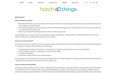 Screenshot of Privacy Page hatchthings.com - Privacy Policy — Hatch Things - captured Jan. 26, 2016