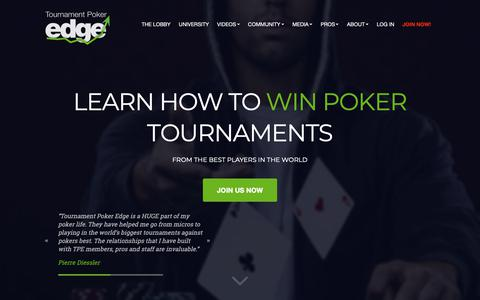 Screenshot of Home Page tournamentpokeredge.com - Tournament Poker Edge | Learn Poker Strategy | Tournament Poker Training from the Pros - Professional MTT training from the top live and online pros - captured June 16, 2019