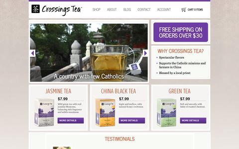 Screenshot of Home Page crossingstea.com - Crossings Tea Company - captured Feb. 1, 2016
