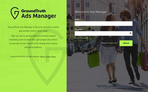 Screenshot of Login Page groundtruth.com - GT Ads Manager - captured July 19, 2019