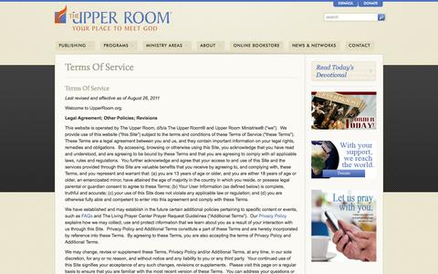 Screenshot of Terms Page upperroom.org - Terms Of Service - The Upper Room - captured Sept. 19, 2014